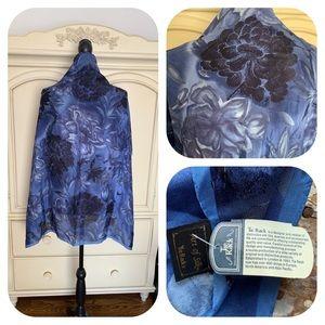 Tie Rack Art of Silk Blue Floral Scarf
